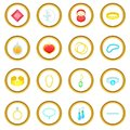 Jewelry items icons circle