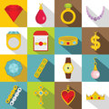 Jewelry items icons set, flat style