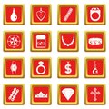 Jewelry items icons set red