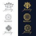Jewelry logo Crown Diamond and flower vector set and isolate on white background vector set design