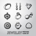 Jewelry monochrome freehand icons set with - rings