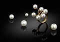 Jewelry piece, ring with pearls on black background Royalty Free Stock Photo