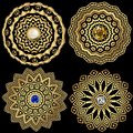 Jewelry round greek vector mandala patterns set. Floral greek key meander ornaments. Geometric ethnic tribal style background.
