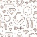 Jewelry seamless pattern, line illustration. Vector icons of jewels accessories - gold engagement rings, diamond, pearl Royalty Free Stock Photo