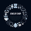 Jewelry shop, diamond accessories banner illustration. Vector flat line icon of jewels - gold engagement rings, gem
