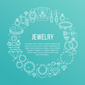 Jewelry shop, diamond accessories banner illustration. Vector line icon of jewels - gold engagement rings, gem earrings