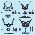 Jewelry silhouettes Royalty Free Stock Photo