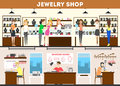 Jewelry store interior set.