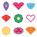 Jewels and diamonds icons Stock Images