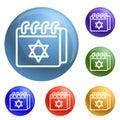 Jewish calendar icons set vector