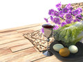 Jewish celebrate pesach passover background with eggs matzo and flowers on nature Stock Photos