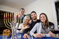 Jewish family celebrating Chanukah Royalty Free Stock Photo