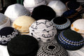 Jewish fashion kipa collection of different kippah and yarmulke it s a hemispherical or platter shaped cap usually made of cloth Royalty Free Stock Photography