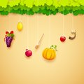 Jewish festival illustration of fruits hanging for Stock Photo