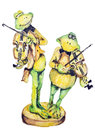 Jewish frog wedding comic concept cheerful green frogs play violins at the handmade watercolor painting illustration on a white Royalty Free Stock Images