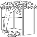 Jewish guy builds sukkah for sukkot coloring page a vector illustration of a standing on a stool and building a the holiday Royalty Free Stock Photography