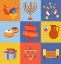 Jewish Holiday Hanukkah icons set. Royalty Free Stock Photo