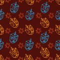 Jewish holiday Hanukkah seamless pattern. Set of traditional Chanukah symbols - dreidels, star David glowing lights Royalty Free Stock Photo
