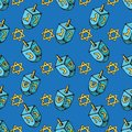 Jewish holiday Hanukkah seamless pattern. Set of traditional Chanukah symbols - dreidels, star David glowing lights. Doodle Vector Royalty Free Stock Photo