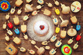 jewish holiday Hanukkah with wooden dreidels colection Royalty Free Stock Photo