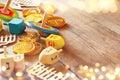 jewish holiday Hanukkah with wooden dreidels Royalty Free Stock Photo