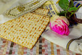 Jewish holiday, Holiday symbol, jewish matzo bread on a table with flowers Royalty Free Stock Photo
