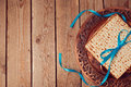 Jewish holiday Passover background with matzo and vintage seder plate. Royalty Free Stock Photo