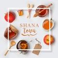 Jewish holiday Rosh Hashana banner design Royalty Free Stock Photo