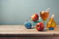 Jewish holiday Rosh Hashana celebration with honey, apples and chocolate Royalty Free Stock Photo
