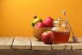 Jewish holiday Rosh Hashana (New Year) celebration with honey jar and apples Royalty Free Stock Photo