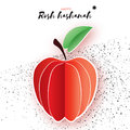 Jewish New Year, Rosh Hashanah. Red Apple with leaf in Paper cut style. Holiday. Vector