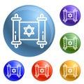 Jewish papyrus icons set vector