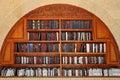 Jewish prayer books on the shelves. Royalty Free Stock Photo