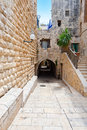 Jewish quarter narrow alley in the of jerusalem Royalty Free Stock Photos