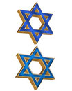 Jewish Star 2 styles 3D Royalty Free Stock Image