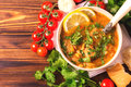 Jewish wedding and holyday Yemenite beef soup Marak Temani Royalty Free Stock Photo