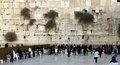 Jewish women worshipers pray at the wailing wall an important religious site winter Royalty Free Stock Photography