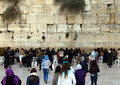 Jewish women worshipers pray at the wailing wall an important religious site winter Stock Photography
