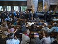 Synagogue Gathering for `A Solemn Observance of Mourning and Outrage` Royalty Free Stock Photo