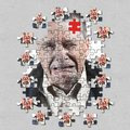 Jigsaw concept of mental illness or dementia with senior caucasian man weeping and alone Royalty Free Stock Photo