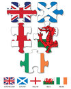 Jigsaw flags five pieces filled with national of uk and ireland Stock Images