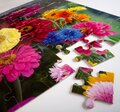 Jigsaw puzzle of colorful flowers with two pieces out Royalty Free Stock Photo