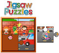 Jigsaw puzzle game with kids painting wall Royalty Free Stock Photo