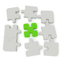 Jigsaw puzzle grey with a single green main piece on white background computer generated image with clipping path Stock Images