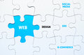 Jigsaw puzzle with missing piece image of a web solution Stock Image