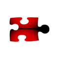 Jigsaw puzzle in red and black Royalty Free Stock Photo