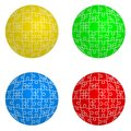 Jigsaw puzzle set form of spheres  four colors Royalty Free Stock Photo