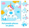 Jigsaw puzzle for toddlers. Match pieces and complete picture. cute unicorn. Educational game for children and kids.
