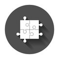 Jigsaw puzzle vector. Flat illustration puzzle game on black rou