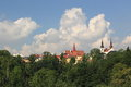 Jihlava roofs and spires the of historic churches in czech epublic Royalty Free Stock Photos